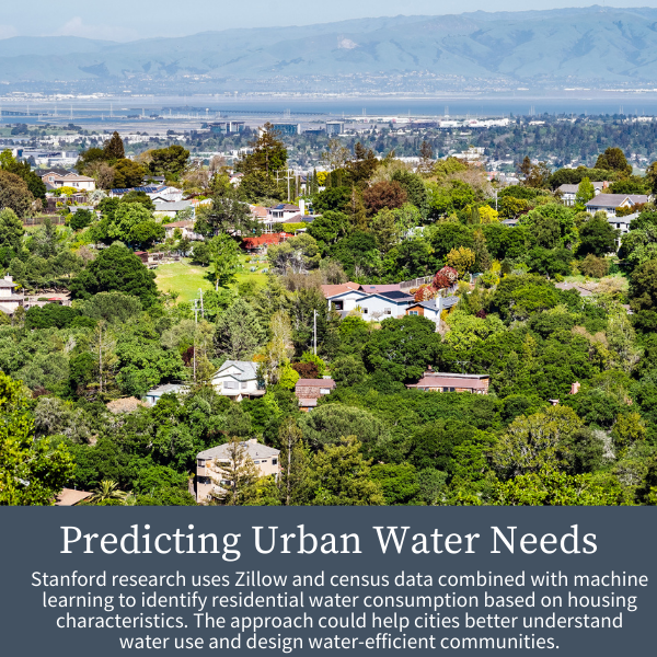 Predicting Urban Water Needs; Stanford research uses Zillow and census data combined with machine learning to identify residential water consumption based on housing characteristics. The approach could help cities better understand water use and design water-efficient communities.
