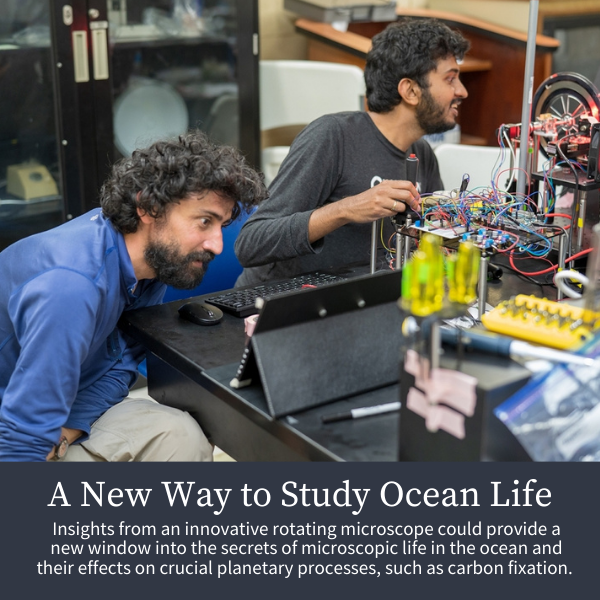 A New Way to Study Ocean Life; Insights from an innovative rotating microscope could provide a new window into the secrets of microscopic life in the ocean and their effects on crucial planetary processes, such as carbon fixation.