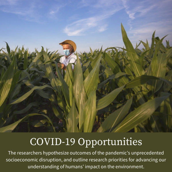 COVID-19 Opportunities; The researchers hypothesize outcomes of the pandemic's unprecedented socioeconomic disruption, and outline research priorities for advancing our understanding of humans' impact on the environment.