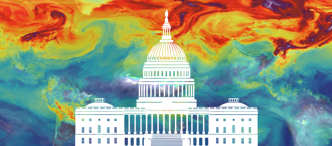 Capitol building and climate map
