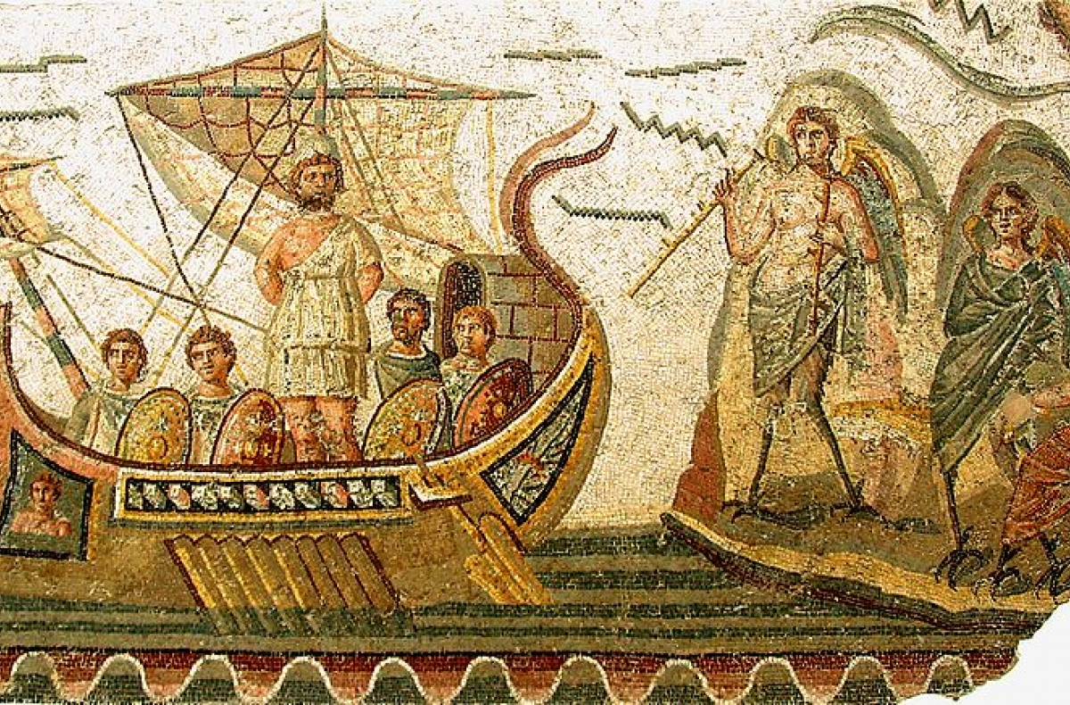 2nd century AD mosaic illustrating The Odyssey by Homer.