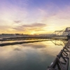 Sunset at a water treatment plant