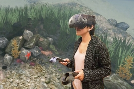 woman in VR goggles