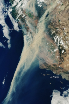 aerial view of smoke over California