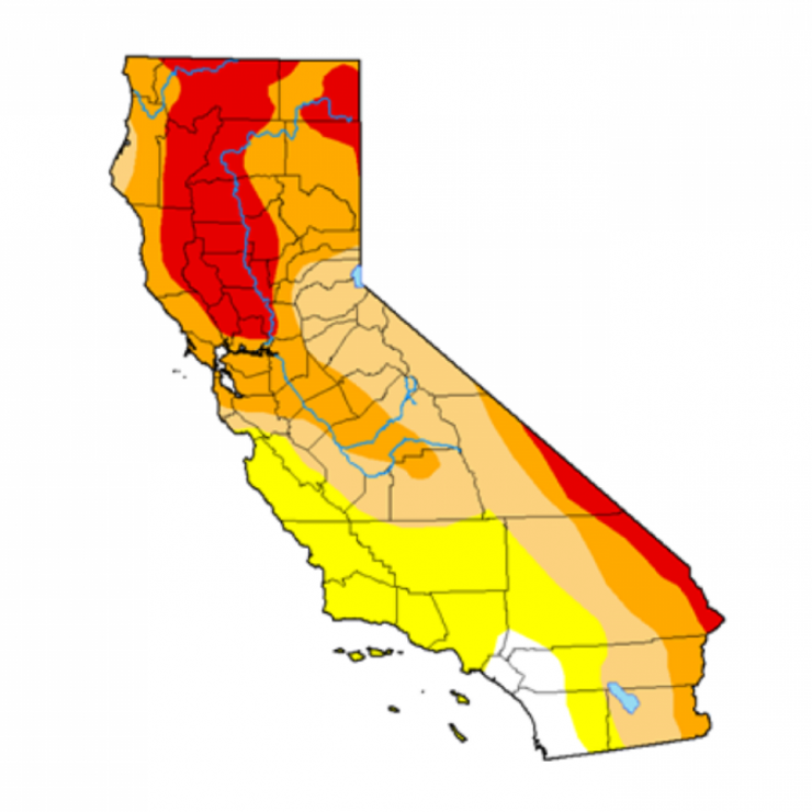 A map of drought conditions in California on Nov. 25, 2020