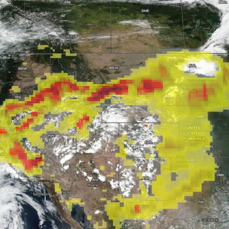 Aerial view of wildfire smoke over the western U.S.