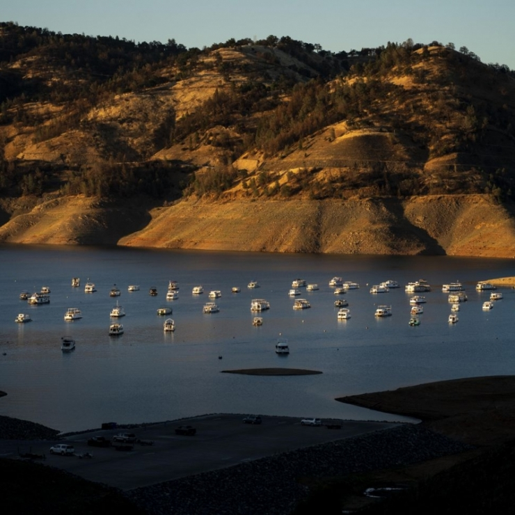 Boats sit unused in Lake Oroville, California