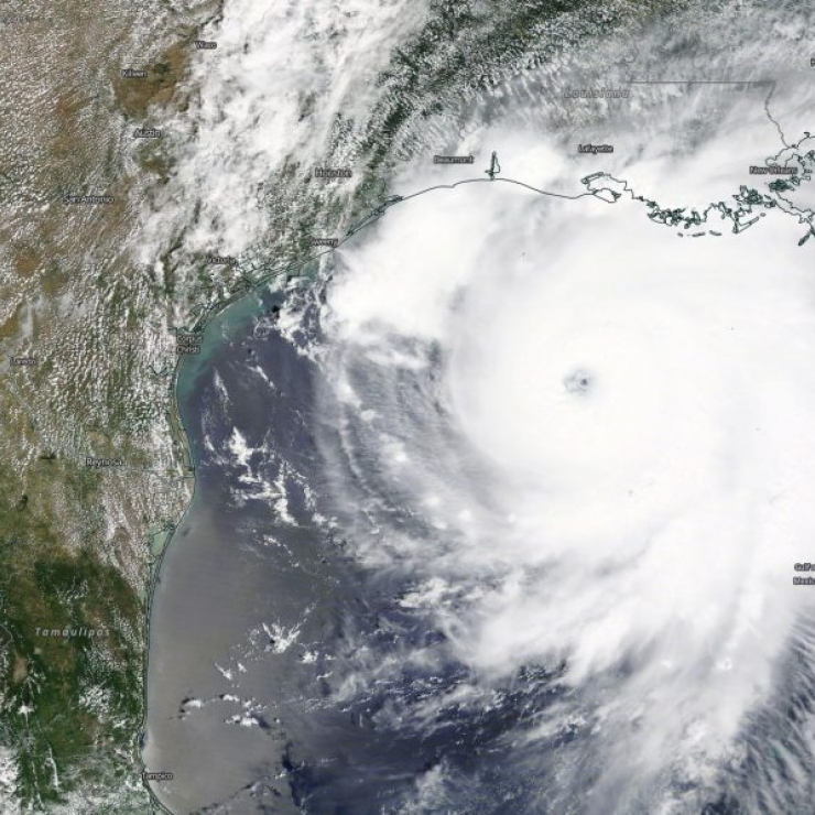 view from space of Hurricane Laura