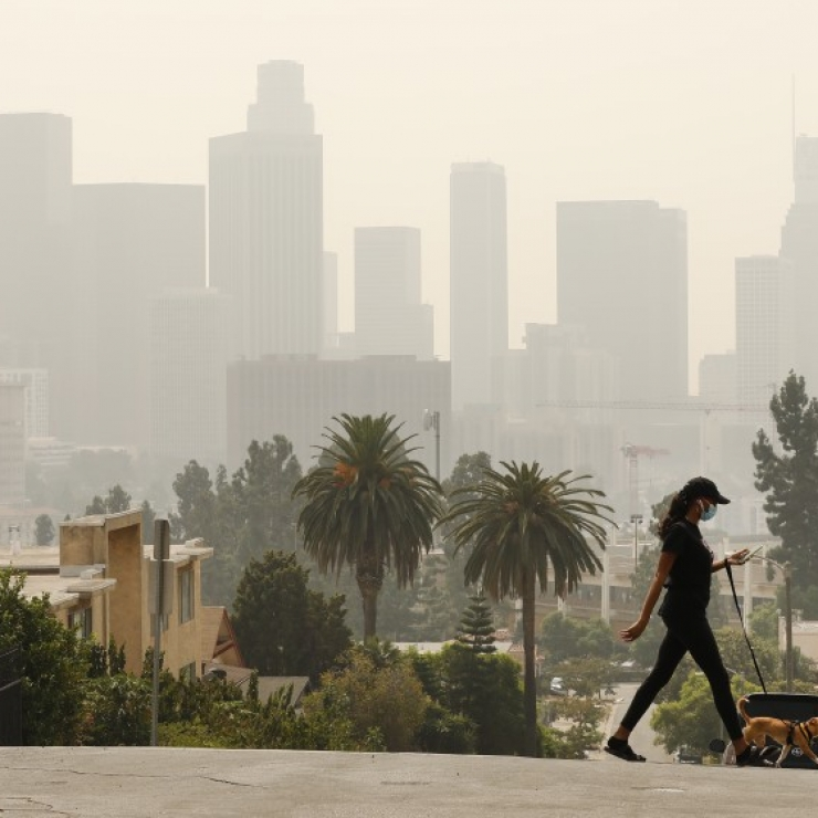 A woman walks her dog with a smoky city scape in the background