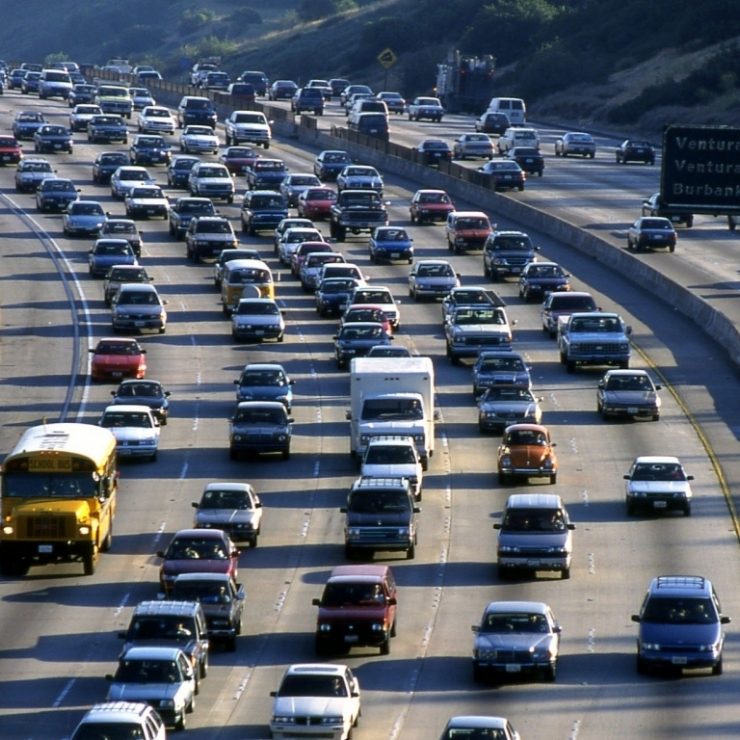 a freeway crowded with cars