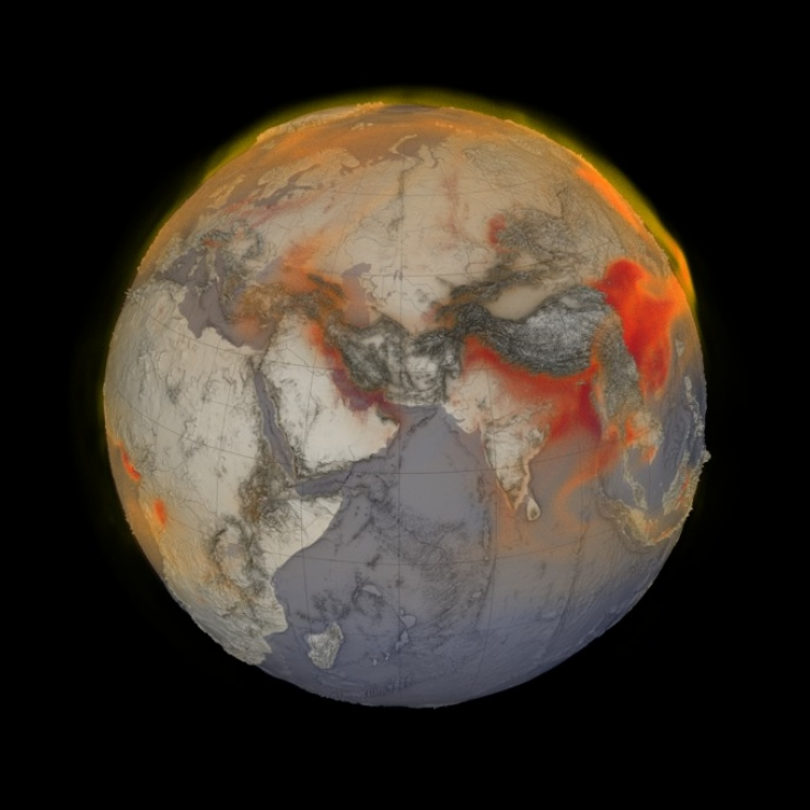 Visualization of methane around the Earth on a black background