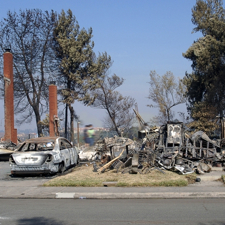 fire destruction in San Diego neighborhood