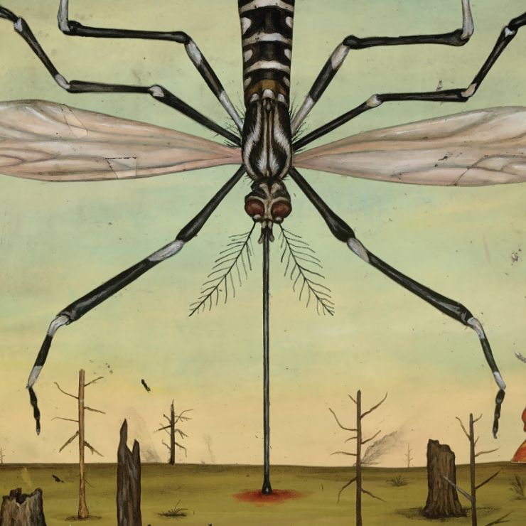 illustration of a giant mosquito bearing down on burning trees