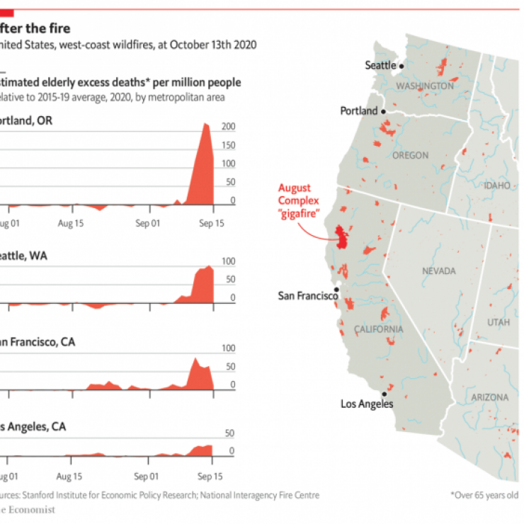 Graph of the western US showing wildfires as of Oct. 13, 2020