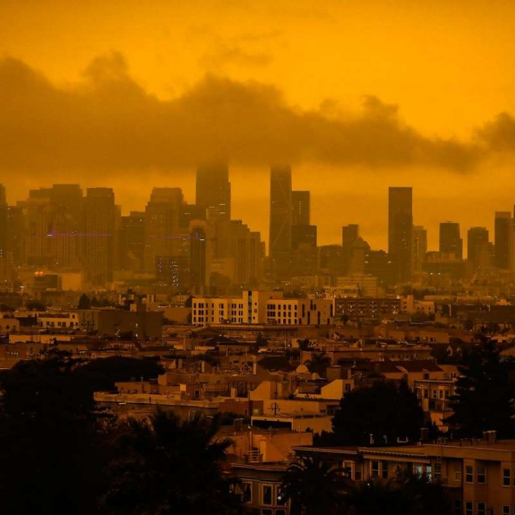 A dark orange sky over San Francisco