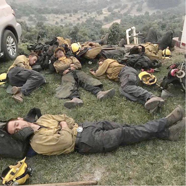 sleeping firefighters